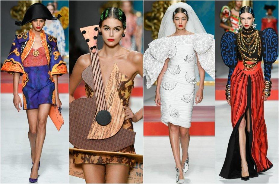"""""""Moschino"""" 2020 m. pavasario ir vasaros kolekcijos modeliai"""