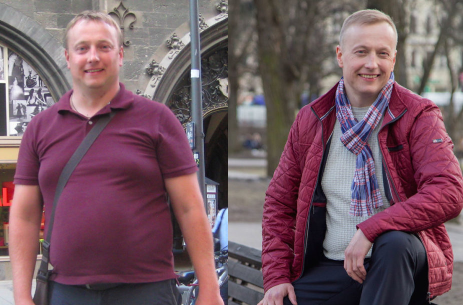 Airidas prieš ir po dietos