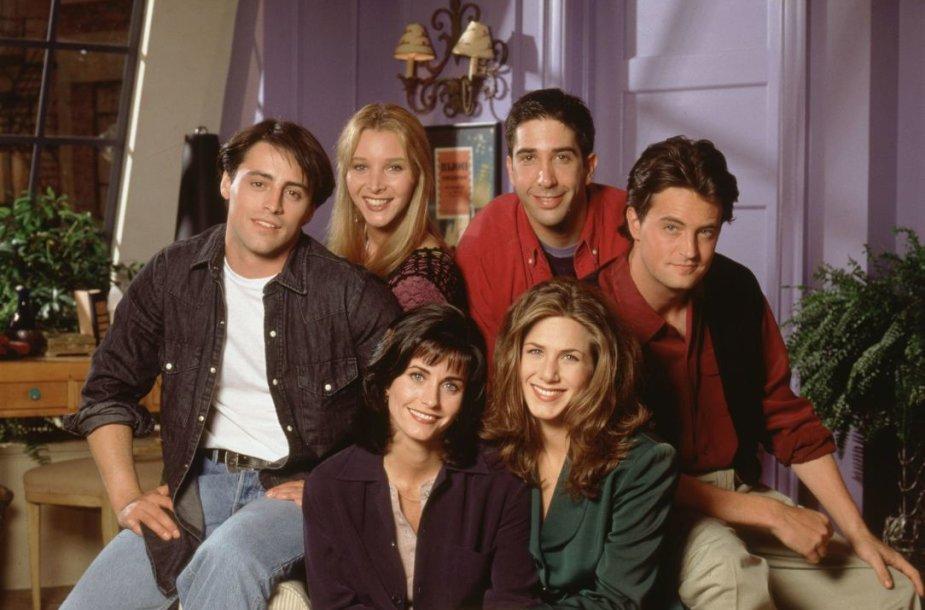 """""""Draugų"""" aktoriai Jennifer Aniston, Courteney Cox, Mattas LeBlancas, Lisa Kudrow, Matthew Perry ir Davidas Schwimmeris (1994 m.)"""