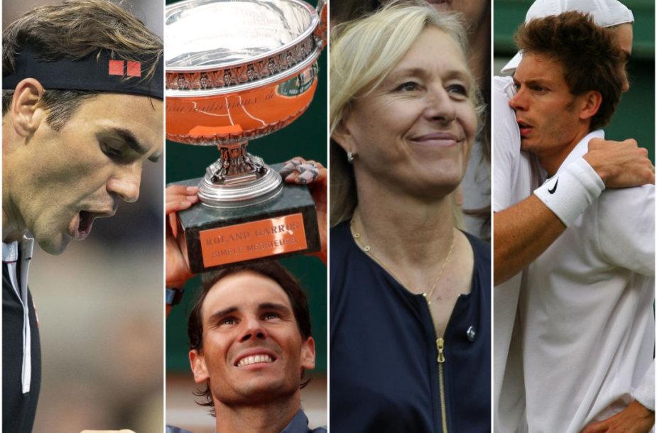 Rogeris Federeris, Rafaelis Nadalis, Martina Navratilova, Johnas Isneris bei Nicola Mahutas