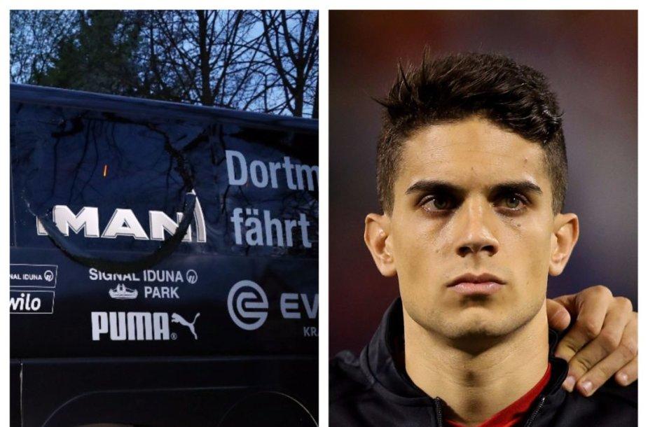 """Per sprogimą greta Dortmundo """"Borussia"""" autobuso nukentėjo M.Bartra."""