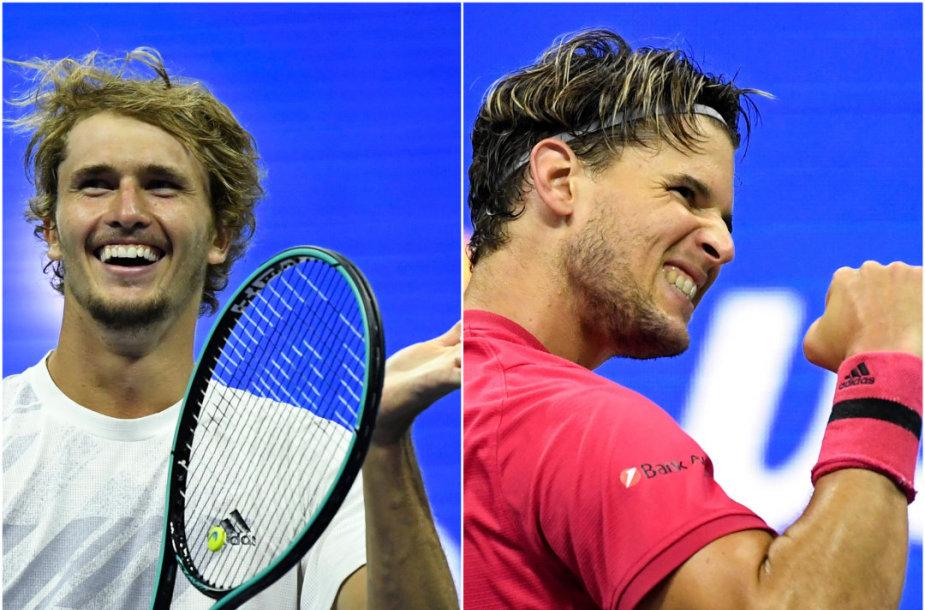 "Alexanderis Zverevas ir Dominicas Thiemas žais ""US Open"" finale"