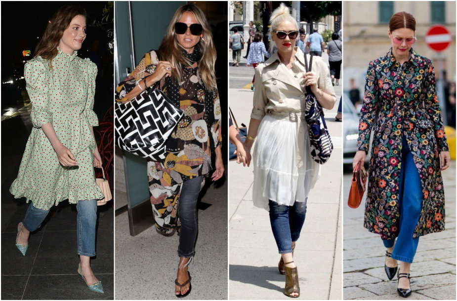 Suknelių ir džinsų deriniai