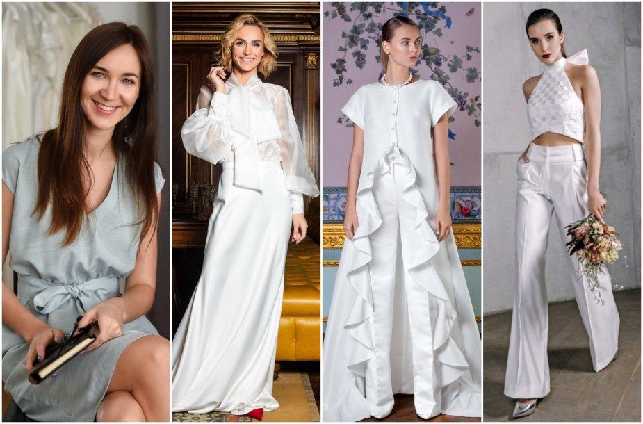 Agnė Deveikytė ir jos kurta vestuvinė suknelė bei kostiumai