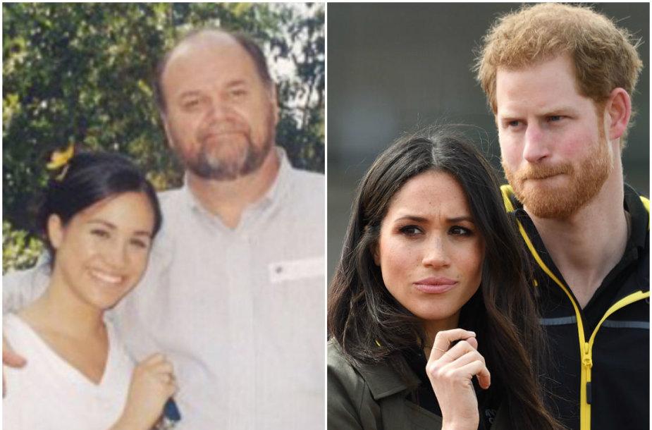 Meghan Markle su tėvu Thomu Markle'u ir sužadėtiniu princu Harry