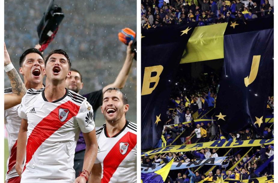 """River Plate"" futbolininkai ir ""Boca Juniors"" sirgaliai"