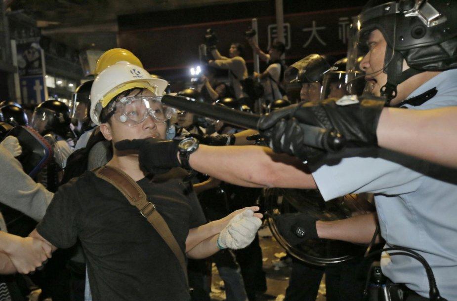 Protestuotojų susirėmimas su Honkongo policija