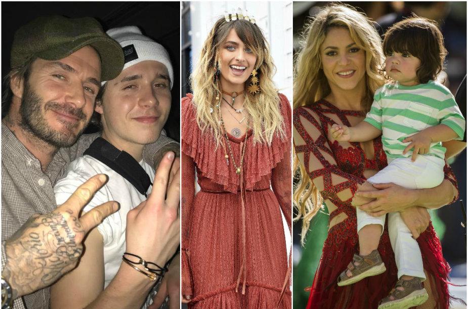 Davidas Beckhamas su sūnumi Brooklynu, Michaelo Jacksono dukra Paris Jackson ir Shakira su sūnumi Milanu