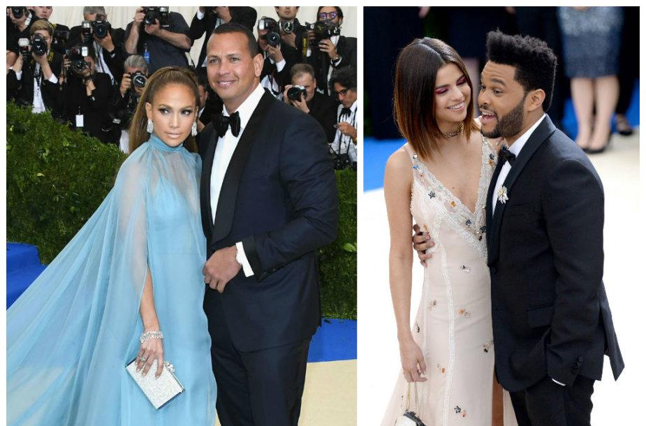 Jennifer Lopez ir Alexas Rodriguezas bei Selena Gomez ir The Weeknd
