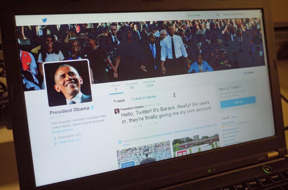 """Pirmoji Baracko Obamos žinutė """"Twitter"""" tinkle"""