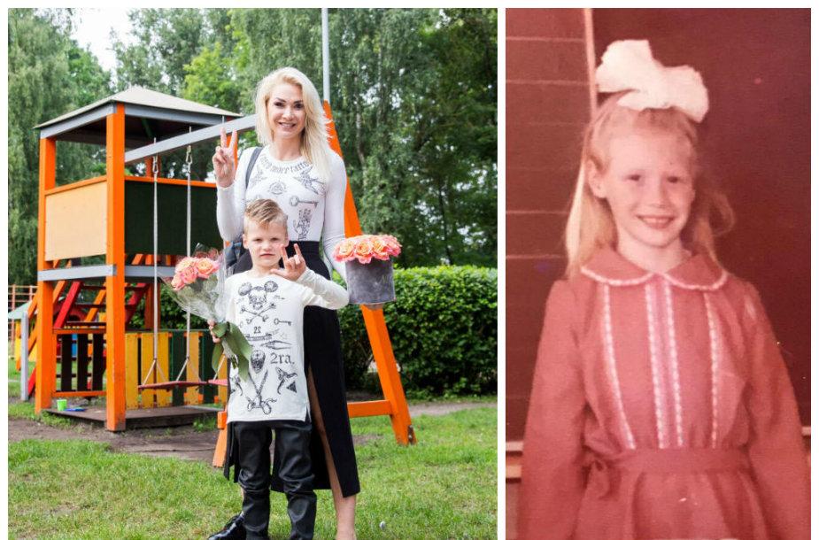 Natalija Bunkė su sūnumi Kristupu ir vaikystėje