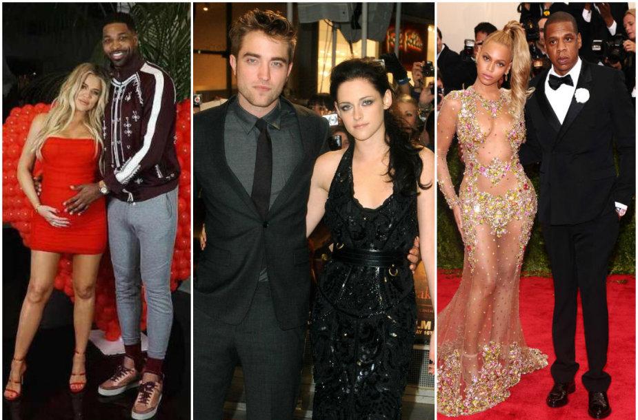 Khloe Kardashian ir Tristanas Thompsonas, Robertas Pattinsonas ir Kristen Stewart bei Beyonce ir Jay-Z