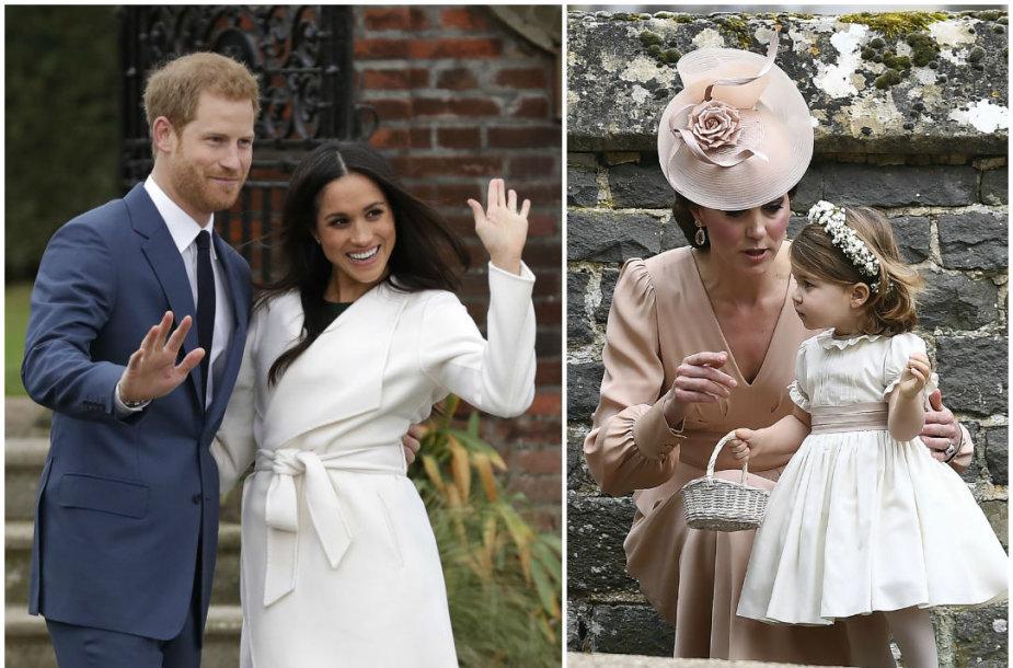 Princas Harry ir Meghan Markle bei Kembridžo hercogienė Catherine su dukra