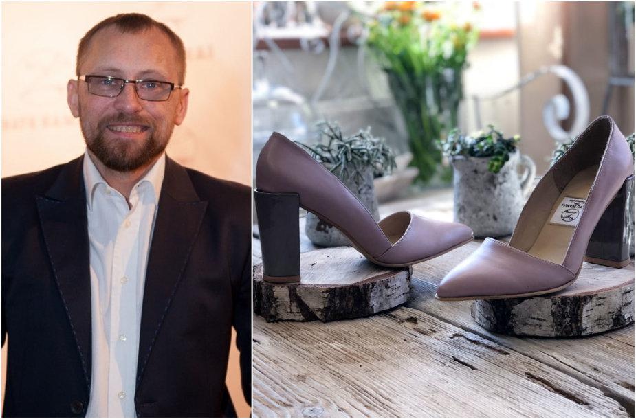 Žanas Maslauskas ir batai iš jo naujos kolekcijos