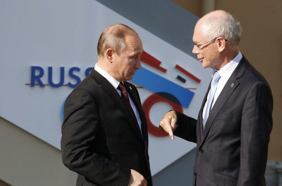 Rusijos prezidentas Vladimiras Putinas ir Europos Vadovų Tarybos pirmininkas Hermanas van Rompuy