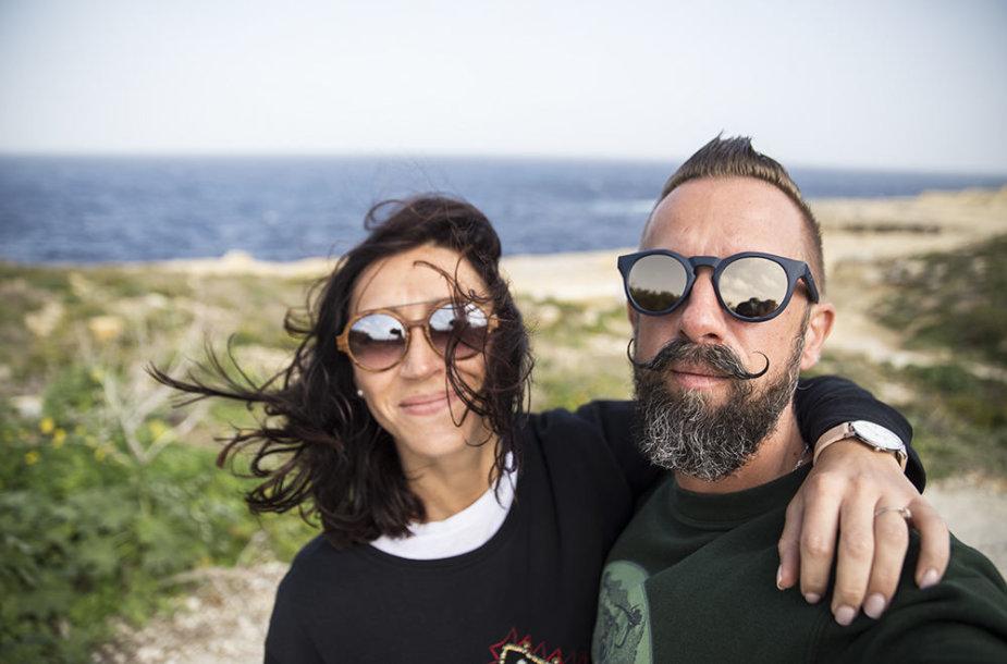 Linas Adomaitis su žmona Irma Maltoje