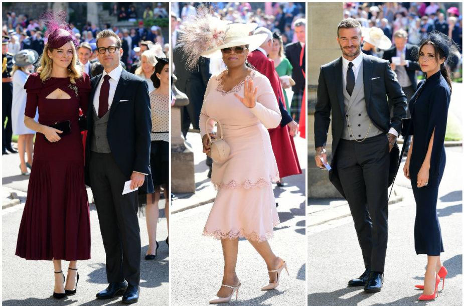 Gabrielis Machtas su žmona Jacinda Barrett, Oprah Winfrey ir Davidas bei Victoria Beckhamai