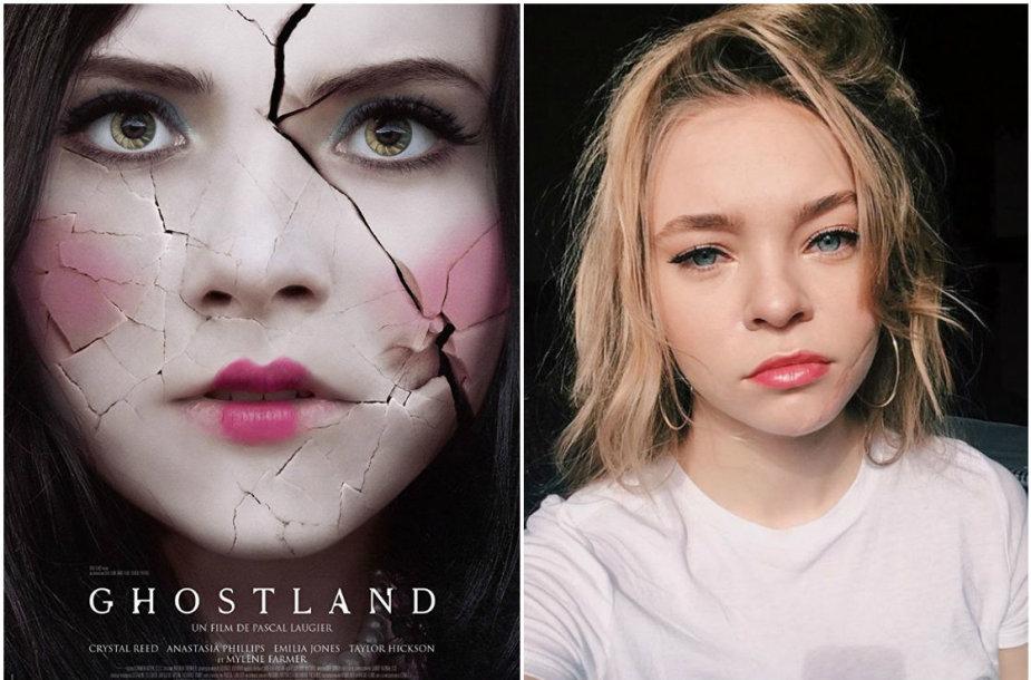 """Taylor Hickson filmuodamasi siaubo filme """"Ghostland"""" susižalojo veidą"""