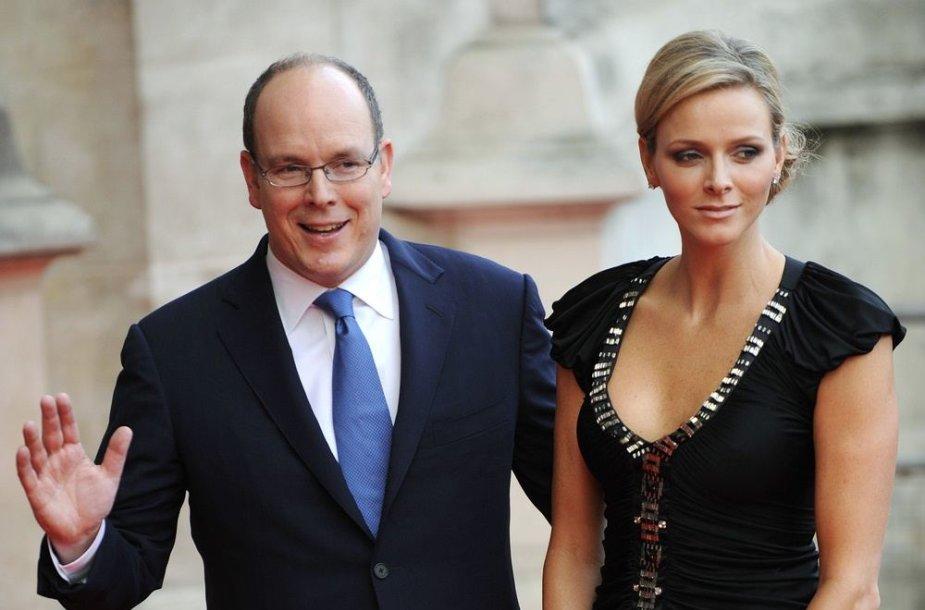 Grace Kelly sūnus, Monako princas Albertas II su žmona Charlene Wittstock