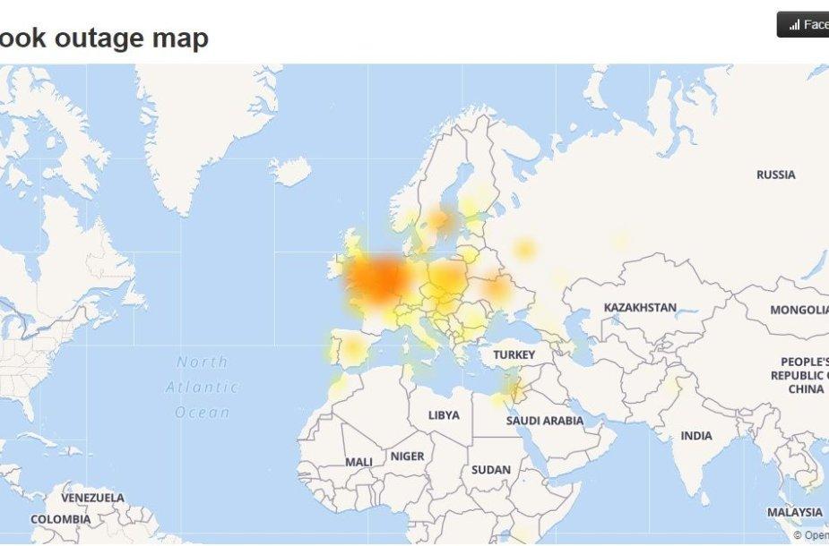 """Skundų dėl atjungimų nuo """"Facebook"""" geografinis pasiskirstymas"""