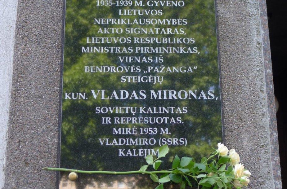 Kaune atidengta atminimo lenta Vasario 16-osios akto signatarui Vladui Mironui