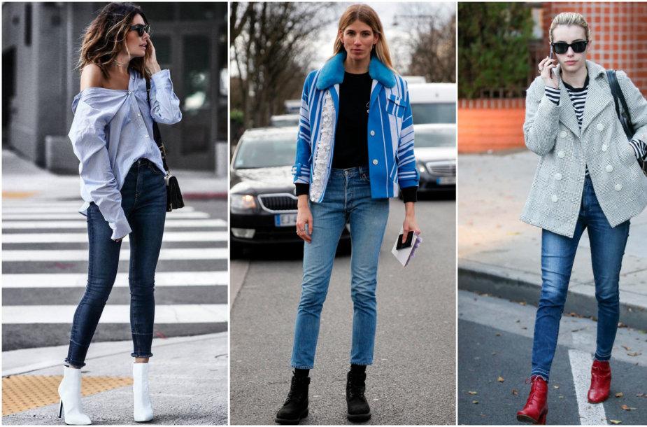 Batų ir džinsų deriniai: Veronika Heilbrunner (centre), Emma Roberts (dešinėje)
