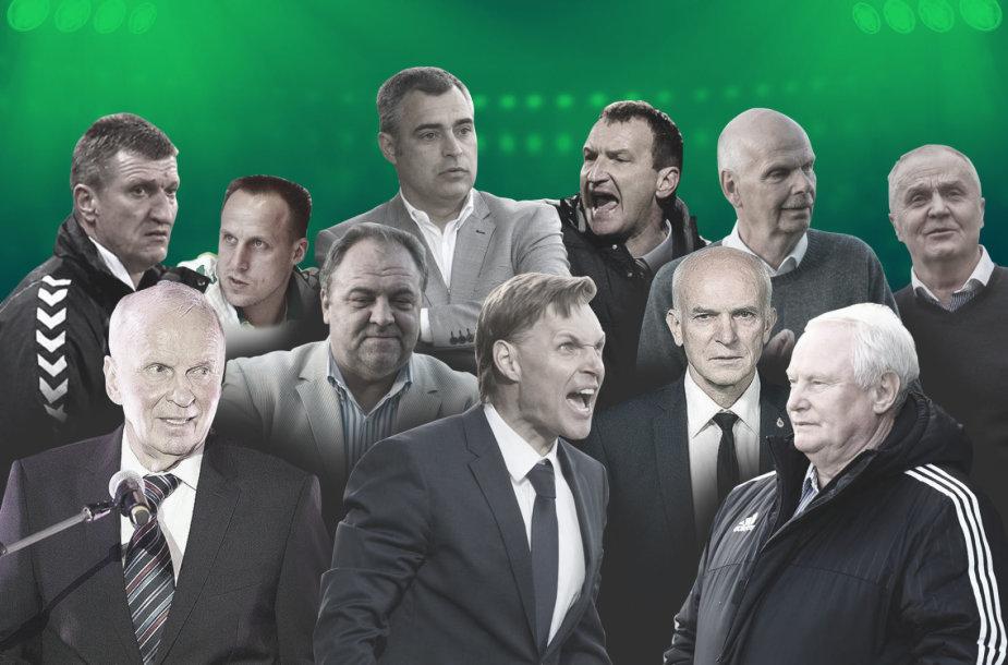 Vienuolika futbolo specialistų yra stovėję prie Lietuvos rinktinės vairo, bet šiuo metu nė vienas nevadovauja aukšto kalibro komandai.