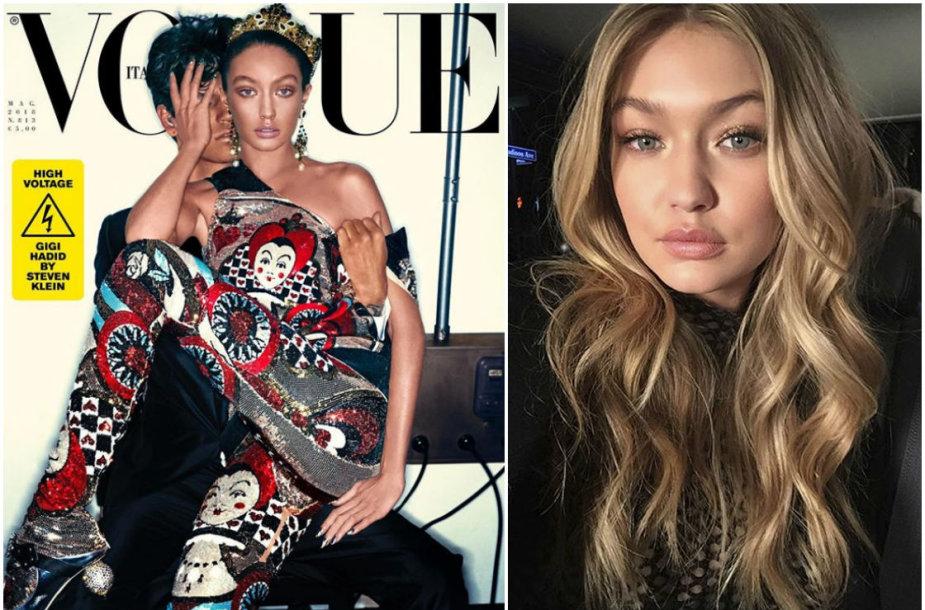 """Gigi Hadid ant """"Vogue"""" viršelio ir realybėje"""