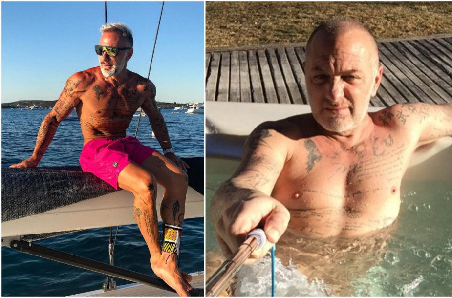 Taip Gianluca Vacchi atrodo dabar ir anksčiau (dešinėje)