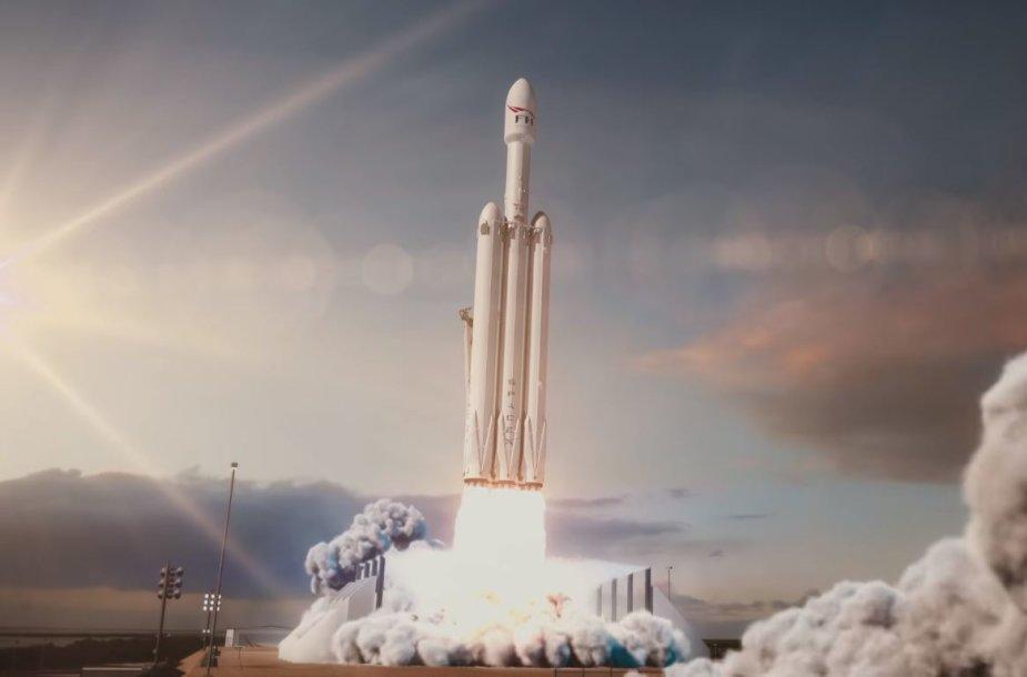 """SpaceX Falcon Heavy"" starto animacija"