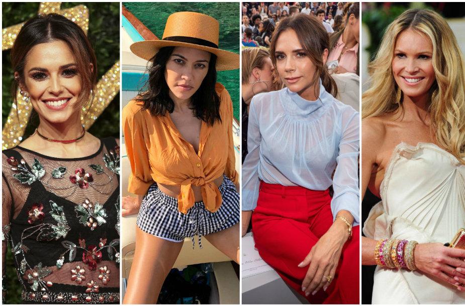 Cheryl, Kourtney Kardashian, Victoria Beckham ir Elle Macpherson