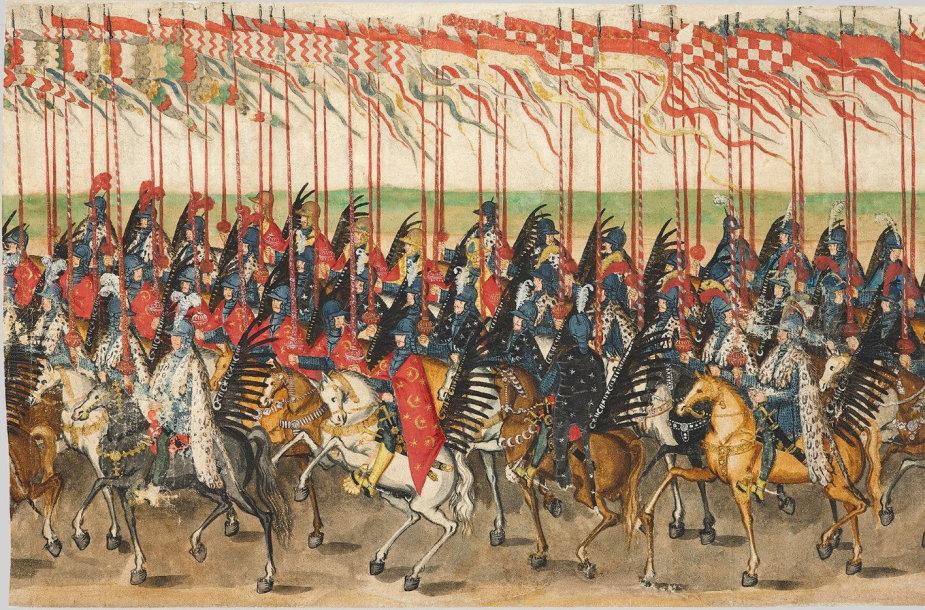 Karališkieji husarai ATR karaliaus Zigmanto Vazos vestuvių procesijoje, 1605 m.