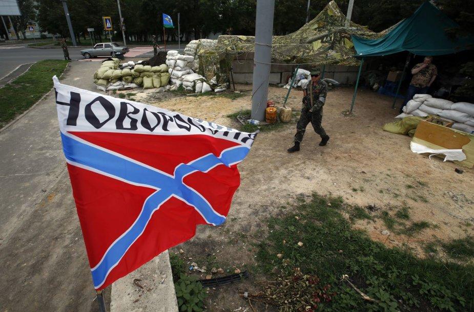 Prorusiški teroristų vėliava rytų Ukrainoje