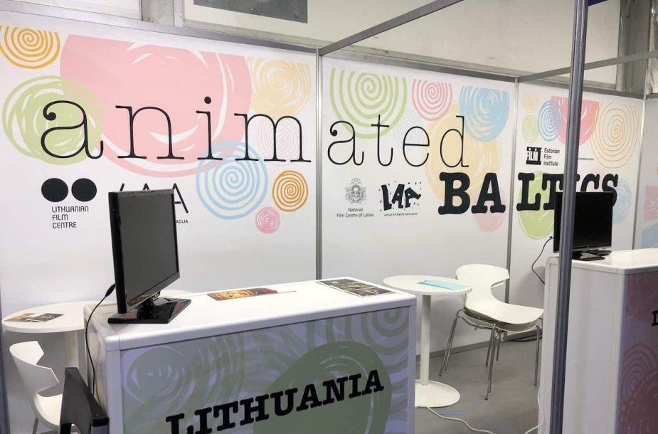 """Lietuvos kino centro stendas  """"Annecy"""" festivalyje"""