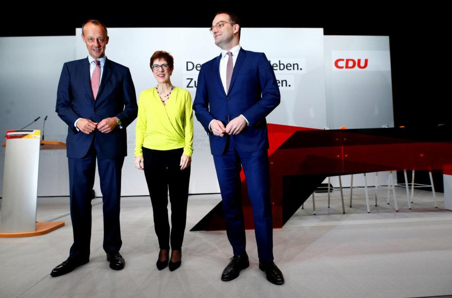 Friedrichas Merzas, Annegret Kramp-Karrenbauer ir Jensas Spahnas (iš kairės)
