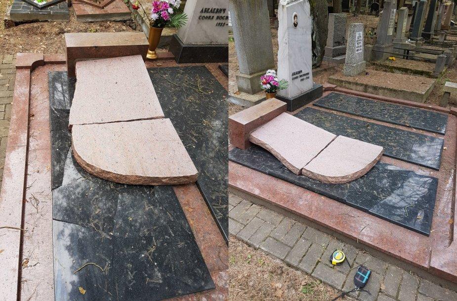 Vilniaus Sudervės žydų kapinėse sudaužti antkapiai