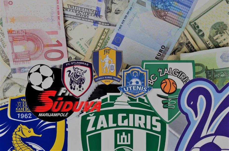 A lygos klubų pinigai