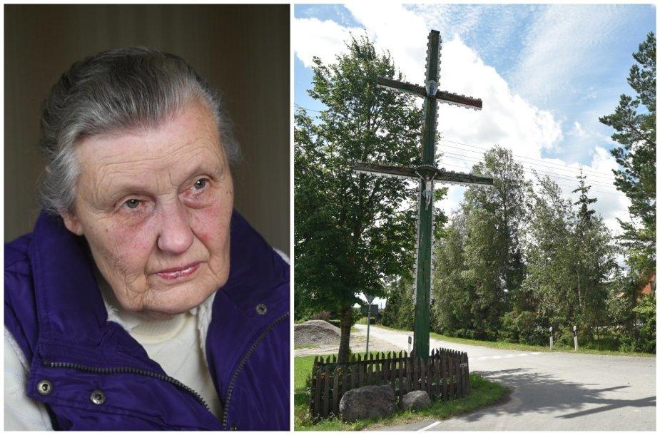 Angelė Kontrimienė ir Kumpikų kaimo kryžius