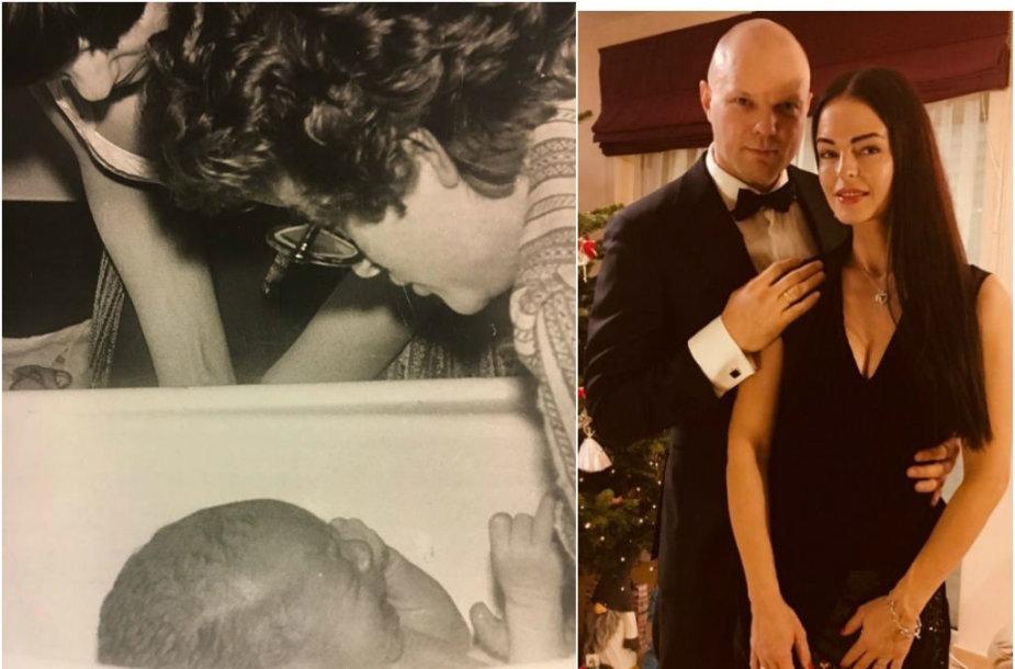 Kristupas Krivickas vaikystėje su mama (kairėje) ir dabar, su žmona Jurgita (dešinėje)