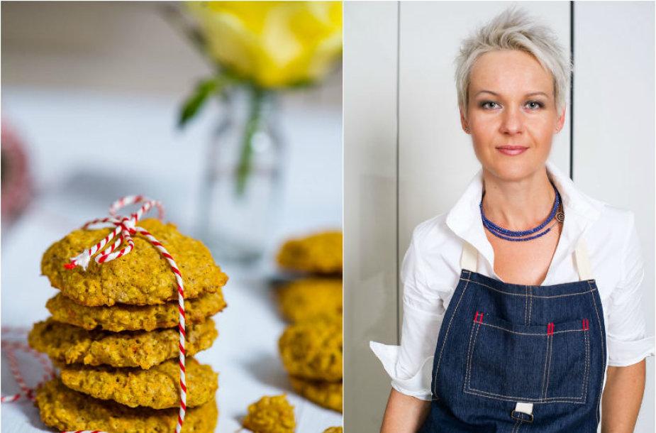 Nida Degutienė ir jos kepti avižinių dribsnių ir morkų sausainiai