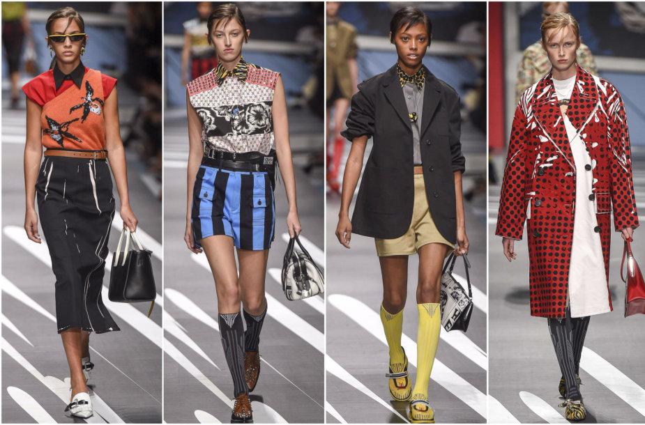 """""""Prada"""" 2018 m. pavasario ir vasaros kolekcijos modeliai"""