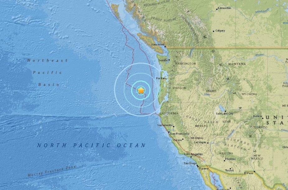 Prie Oregono krantų įvyko stiprus žemės drebėjimas
