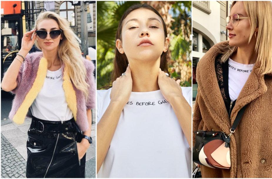 """""""Le SLAP"""" kurti balti marškinėliai"""