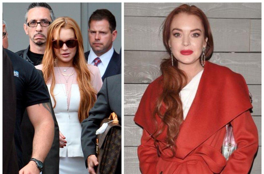 Lindsay Lohan (2013 metais keliaujanti į teismą ir dabar)