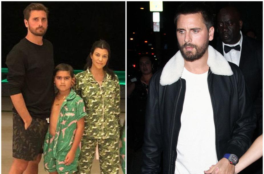 Scottas Disickas ir Kourtney Kardashian su vaikais