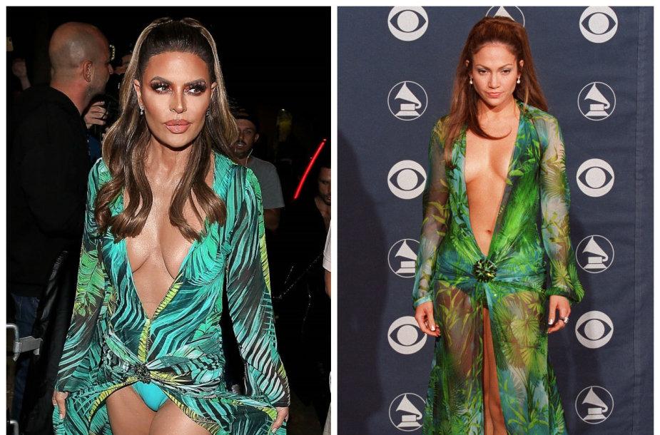 Lisa Rinna 2019-aisiais ir Jennifer Lopez 2000-aisiais
