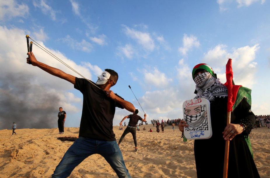 Protestuotojas Gazos Ruože