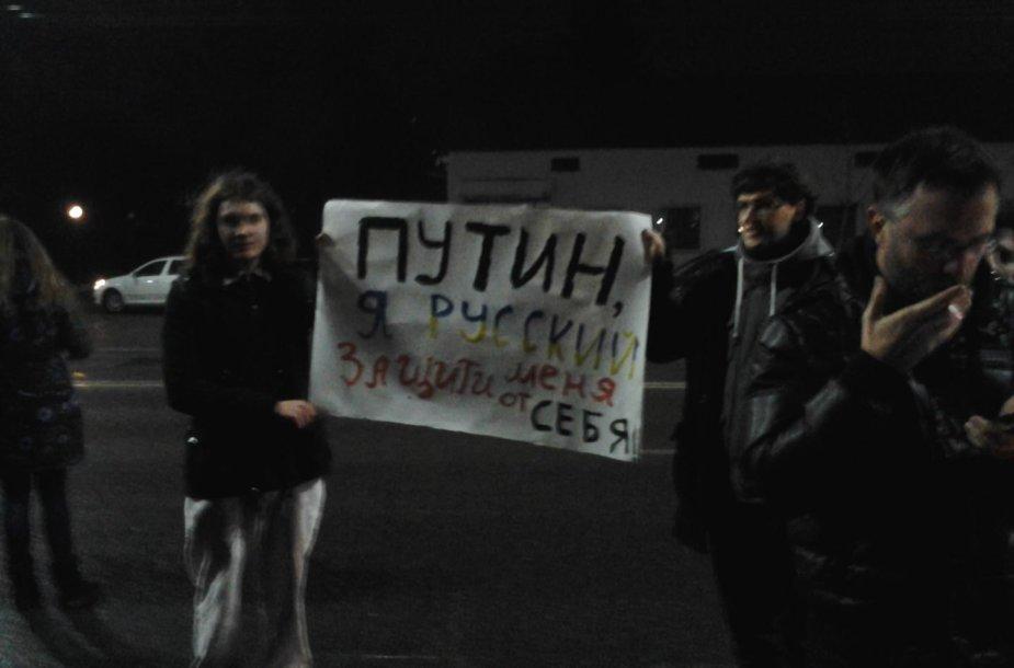 Protesto akcija prie Rusijos ambasados Kijeve