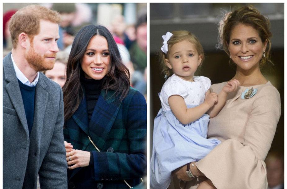 Sasekso hercogai princas Harry ir Meghan Markle, Švedijos princesė Madeleine su dukra Leonore