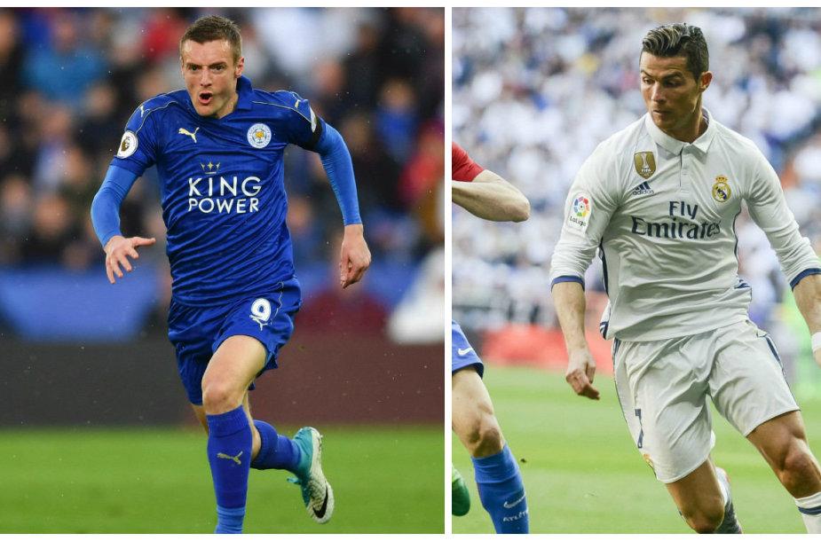 Jamie Vardy ir Cristiano Ronaldo